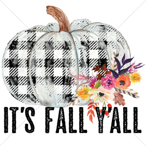 It's Fall Yall Plaid Pumpkin Sublimation Transfer