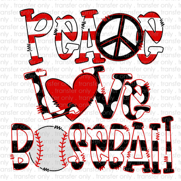 Peace Love Baseball Sublimation Transfer