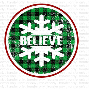 Believe Plaid Sublimation Transfer