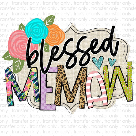 Blessed Memaw Sublimation Transfer
