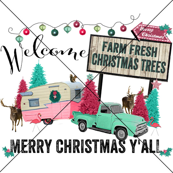 Farm Fresh Christmas Tree Sublimation Transfer