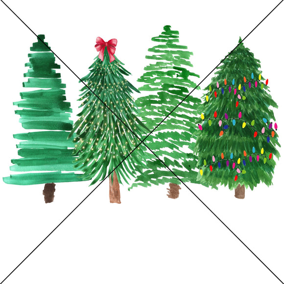 Watercolor Christmas Trees Sublimation Transfer