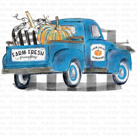 Blue Farm Fresh Pumpkin Truck Sublimation Transfer