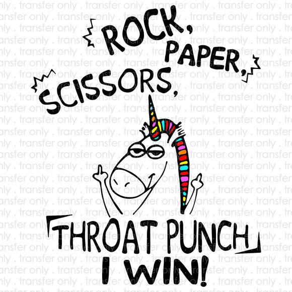 Rock Paper Scissors Throat Punch Sublimation Transfer