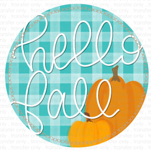 Hello Fall Turquoise Plaid Sublimation Transfer