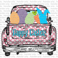 Happy Easter Pink Polka Dot Sublimation Transfer