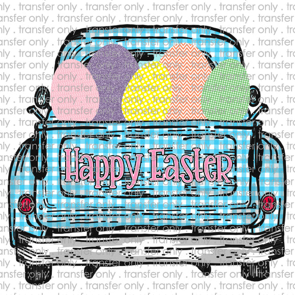 Happy Easter Blue PLaid Truck Sublimation Transfer
