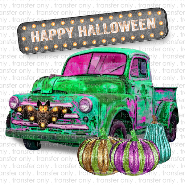 Happy Halloween Vintage Truck Sublimation Transfer