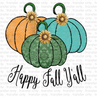Happy Fall Yall Patchwork Pumpkins Sublimation Transfer