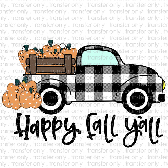 Happy Fall Yall Plaid Truck Sublimation Transfer