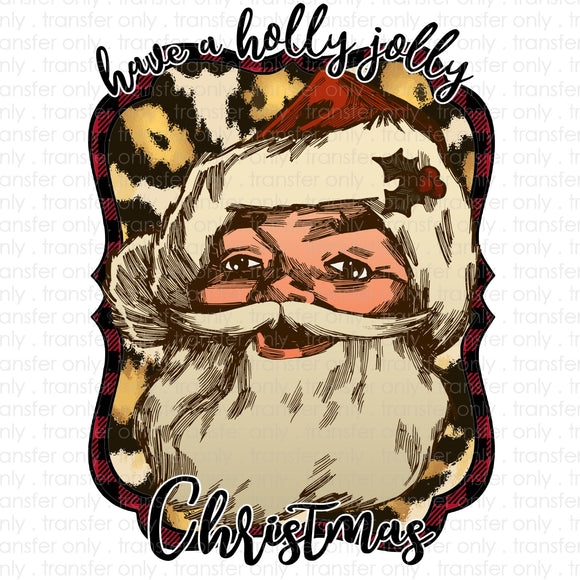 Have a Holly Jolly Christmas Vintage Santa Sublimation Transfer