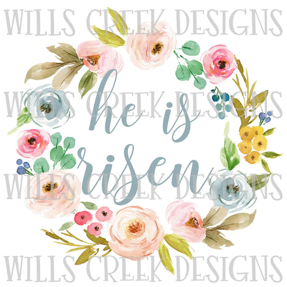 He is Risen Wreath Sublimation Transfer