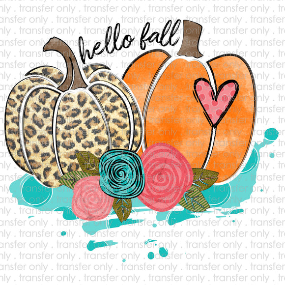 Hello Fall Double Cheetah Pumpkins Sublimation Transfer