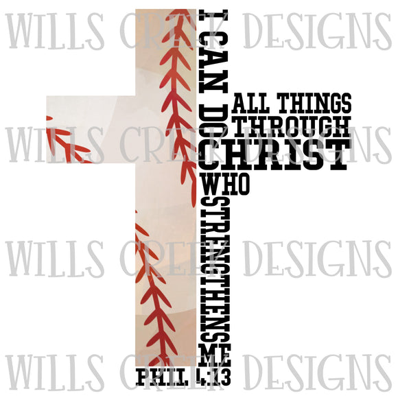 I Can Do All Things Baseball Digital Download