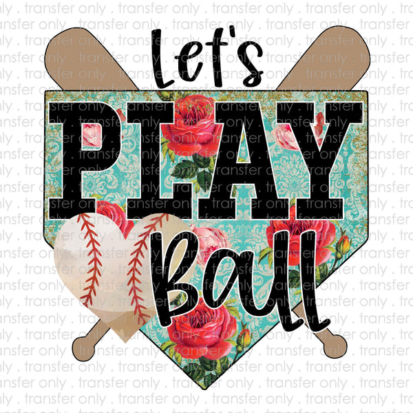 Let's Play Ball Floral Baseball Sublimation Transfer