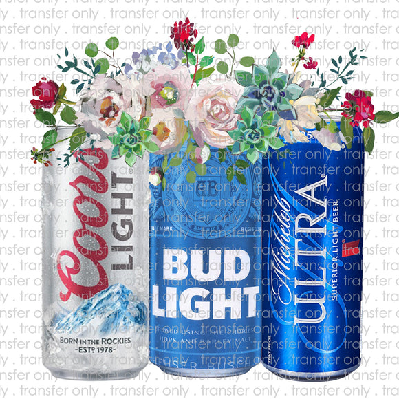 Light Beer Floral Sublimation Transfer