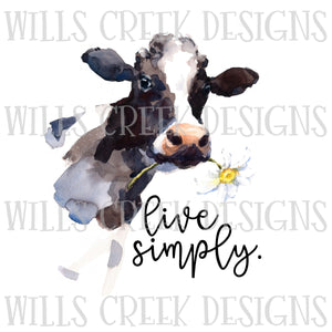 Live Simply Watercolor Cow Sublimation Transfer