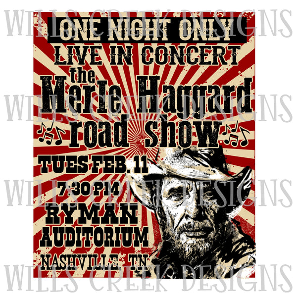 Merle Haggard Concert Poster Sublimation Transfer