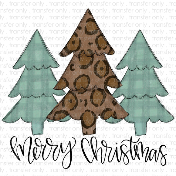 Merry Christmas Leopard Blue PLaid Trees Sublimation Transfer