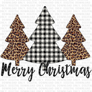 Merry Christmas Trees Black Plaid Digital Download