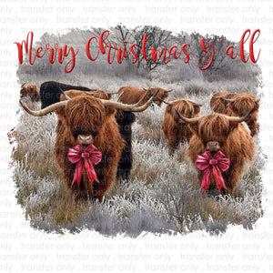 Merry Christmas Yall Cows Sublimation Transfer