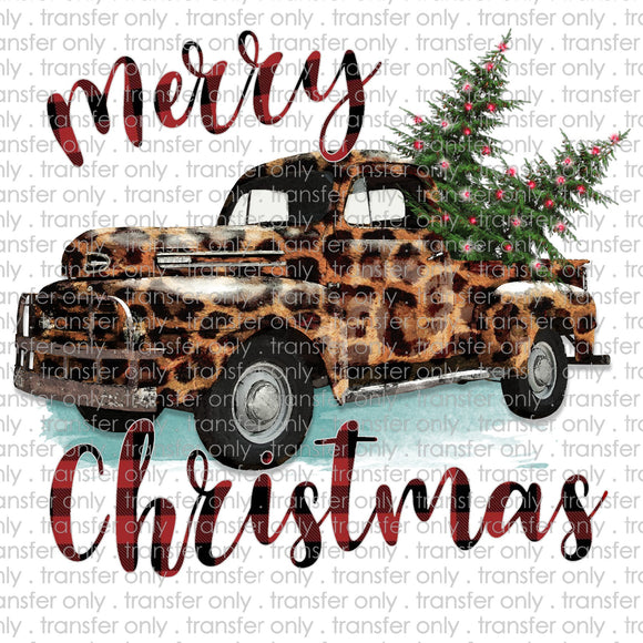 Merry Christmas Leopard Truck Sublimation Transfer