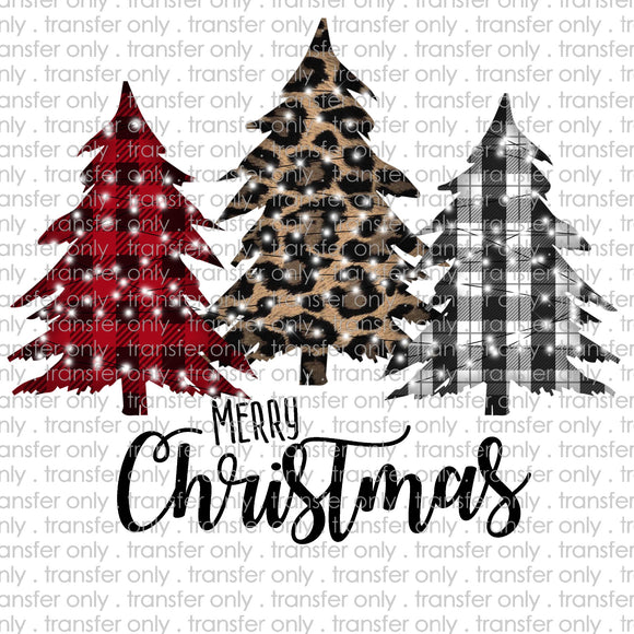 Merry Christmas Plaid Trees Sublimation Transfer