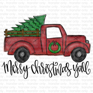 Merry Christmas Y'all Vintage Truck Sublimation Transfer