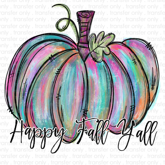 Happy Fall Yall Painted Pumpkin Sublimation Transfer