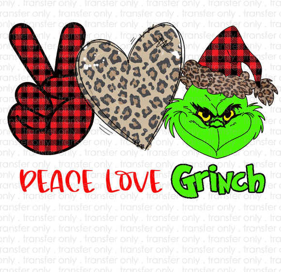 Peace Love Grinch Heat Transfer Vinyl Transfer