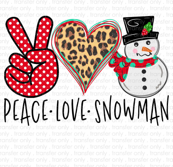 Peace Love Snowman Sublimation Transfer