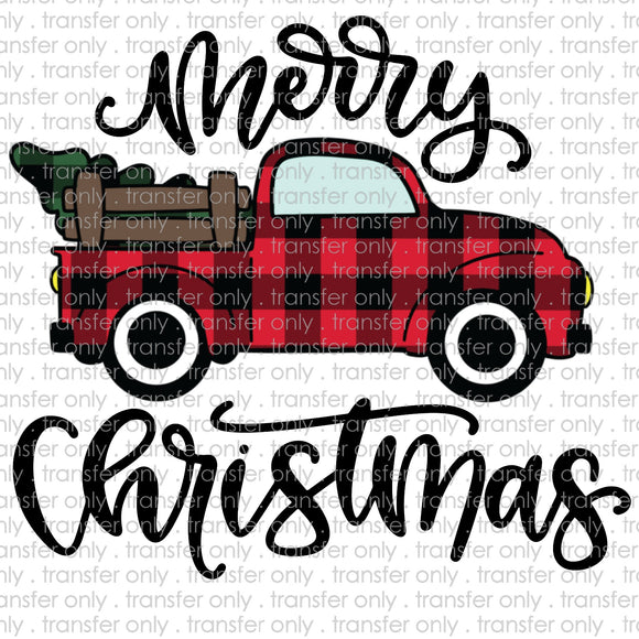 Merry Christmas Plaid Truck Sublimation Transfer
