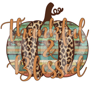 Thankful and Blessed Wood Pumpkin Digital Download