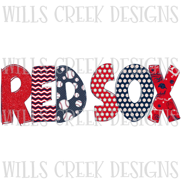 Red Sox Doodle Sublimation Transfer