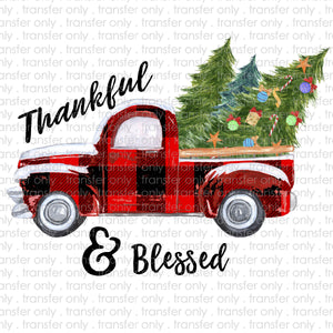 Red Plaid Christmas Truck Sublimation Transfer