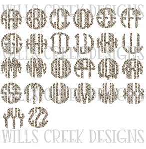 Cheetah Scallop Monogram SVG Bundle Digital Download