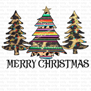Merry Christmas Serape Trees Sublimation Transfer