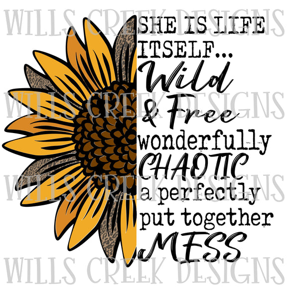 She is Life Itself Sunflower Sublimation Transfer
