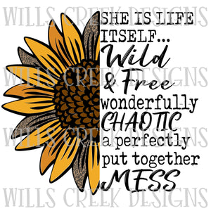 She is Life Itself Sunflower Digital Download