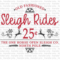 Sleigh Rides North Pole Sublimation Transfer