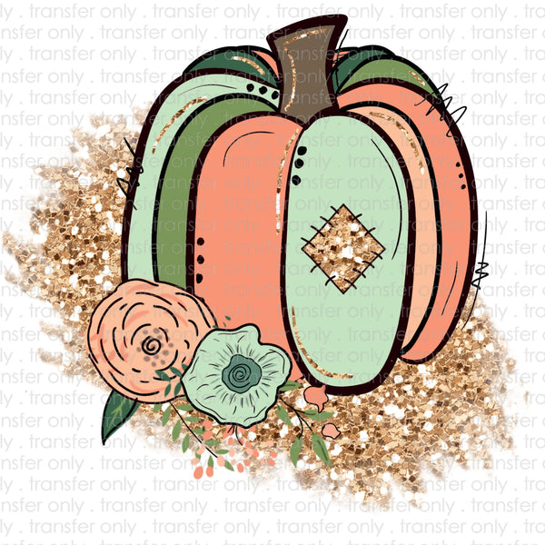 Teal Glitter Pumpkin Sublimation Transfer