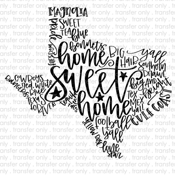 Texas Word Art Sublimation Transfer