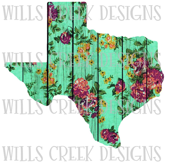 Texas Floral Wood Digital Download