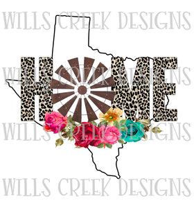 Texas Home Windmill Sublimation Transfer