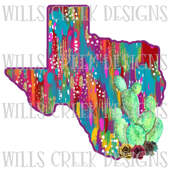 Texas Pattern Cactus Sublimation Transfer