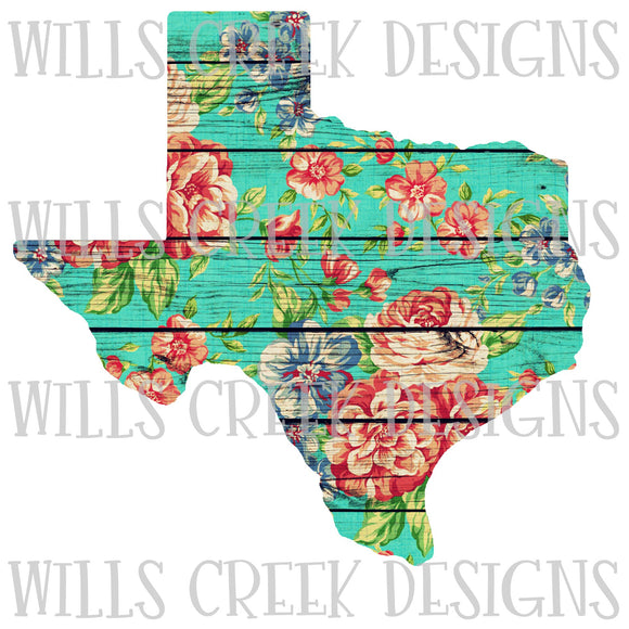 Texas Floral Wood Sublimation Tranfer