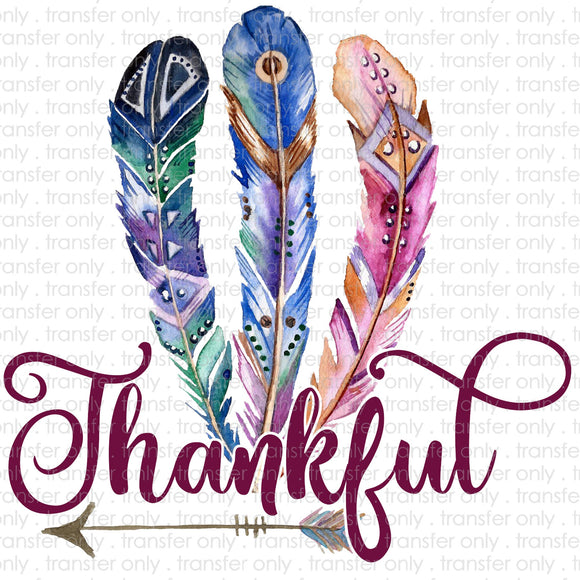 Thankful Feathers Sublimation Transfer