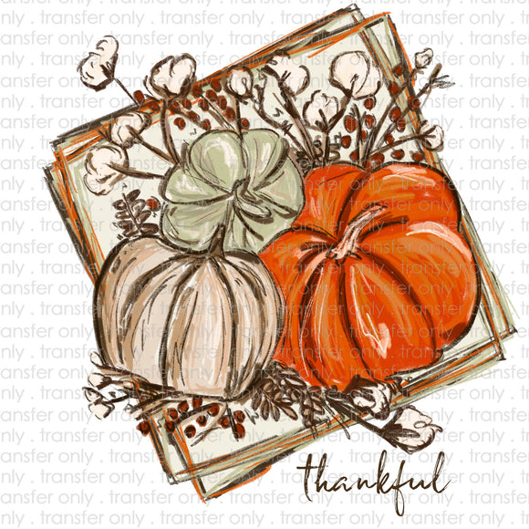 Thankful Painted Pumpkins Sublimation Transfer