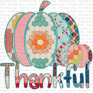 Thankful Patchwork Pumpkin Sublimation Transfer
