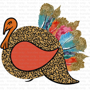 Cheetah Watercolor Turkey Sublimation Transfer